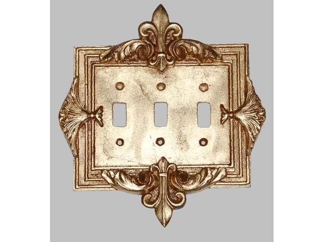 Fleur De Lis Triple Switch Plate In Antique Gold Finish