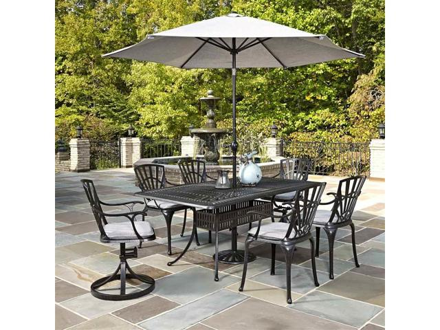 7 pc cast aluminum patio dining set in charcoal finish