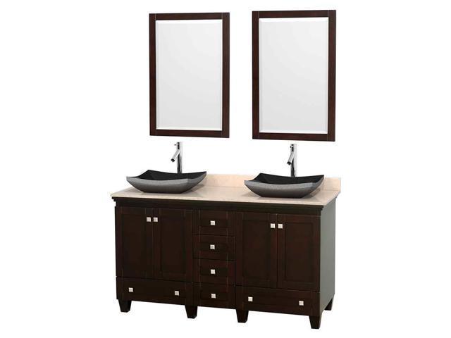 double bathroom vanity set in espresso with black granite sinks newegg
