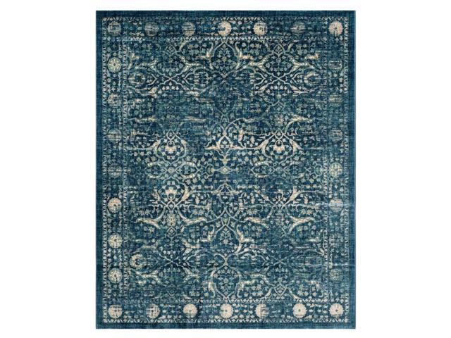 Rectangular Contemporary Area Rug in Navy and Beige (10 ft. L x 8 ft. W)