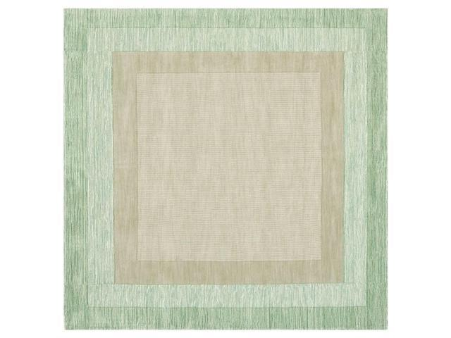 Square Area Rug in Green and Beige