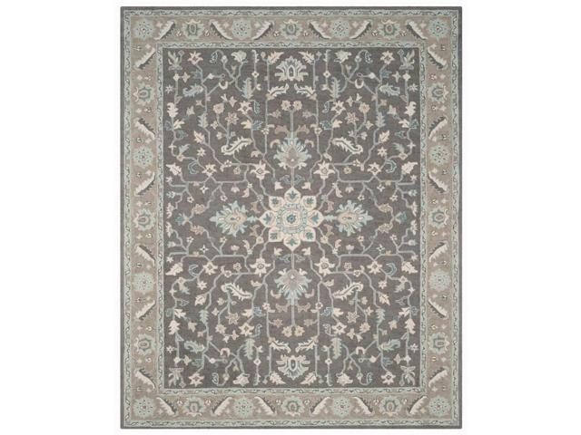 10 ft. Rectangular Bordered Area Rug in Brown