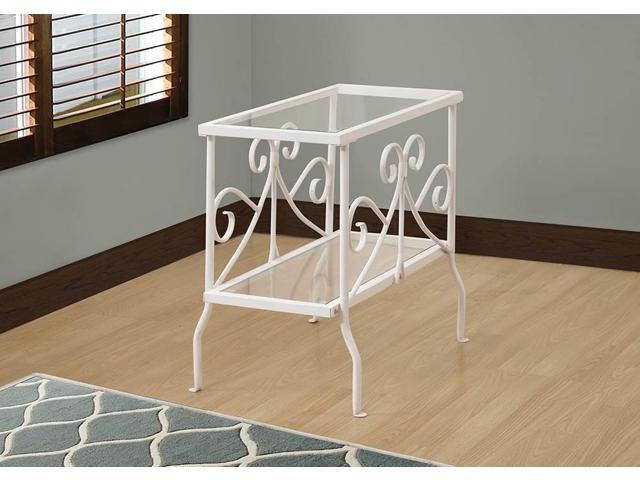 I 3105 ACCENT TABLE - WHITE METAL WITH TEMPERED GLASS