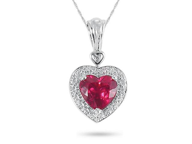 Sterling Silver, Lab-Created Ruby and Diamond Accent Heart Pendant
