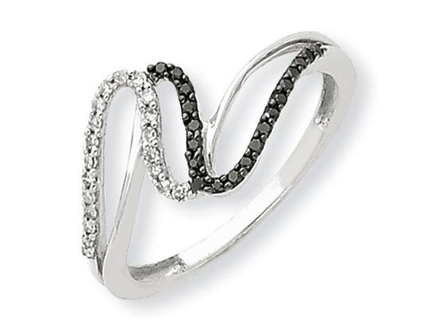 14K White Gold Black & White Diamond Promise Ring Newegg