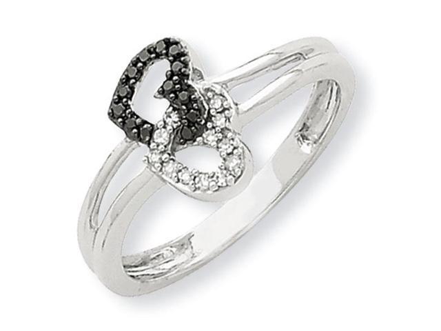 14K White Gold Black & White Diamond Heart Promise Ring Newegg