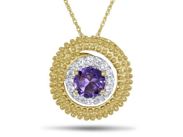 Viola, Round-cut Amethyst & White Topaz Pendant in Sterling Silver Yellow Plated