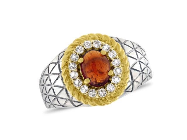 Viola, Oval-cut Hessonite Cabochon & White Topaz Ring in Sterling Silver Yellow Plated
