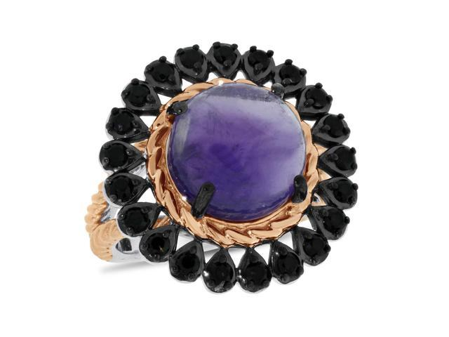 Viola, Round-cut Amethyst & Black Spinel Ring in Sterling Silver Pink Plated Black Rhodium