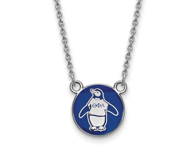 Sterling Silver Theta Phi Alpha Extra Small Enameled Pendant with 18 Inch Chain