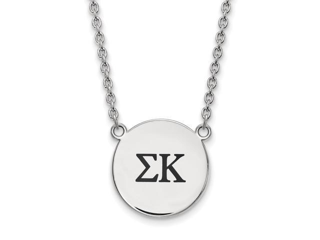 Sterling Silver Sigma Kappa Small Enameled Pendant with 18 Inch Chain