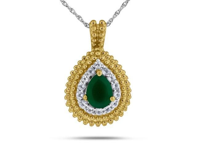 Viola, Oval-cut Green Onyx & White Topaz Pendant in Sterling Silver Yellow Plated