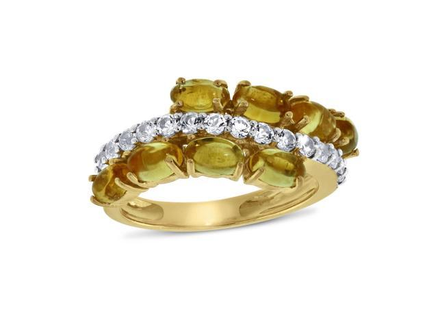 Viola, Oval-cut Citrine & White Topaz Ring in Sterling Silver Yellow Plated