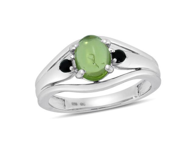 Viola, Oval-cut Peridot & Black Spinel Ring in Sterling Silver