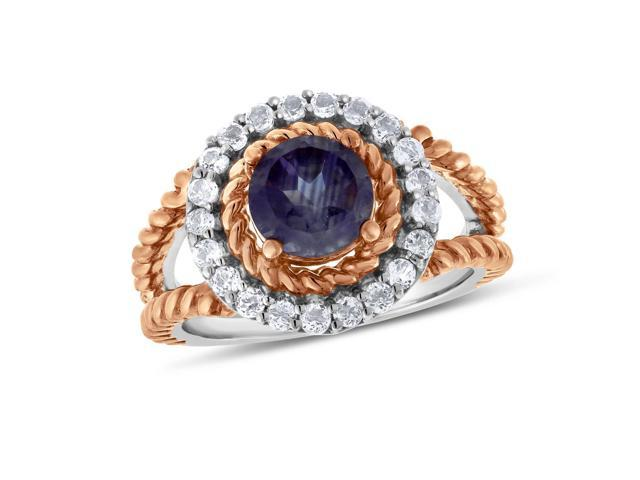 Viola, Round-cut Amethyst & White Topaz Ring in Sterling Silver Rose Plated