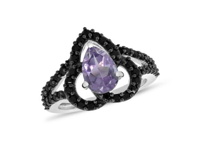 Viola, Pear-cut Amethyst & Black Spinel Ring in Sterling Silver