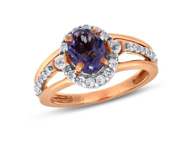 Viola, Oval-cut Amethyst & White Topaz Ring in Sterling Silver