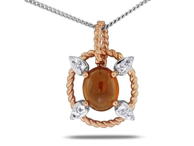 Viola, Oval-cut Hessonite & White Topaz Pendant in Sterling Silver Rose Plated