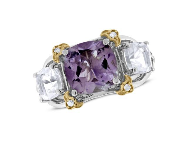 Viola, Cushion-cut Amethyst & Green Amethyst Ring in Sterling Silver & 18K Pink Gold