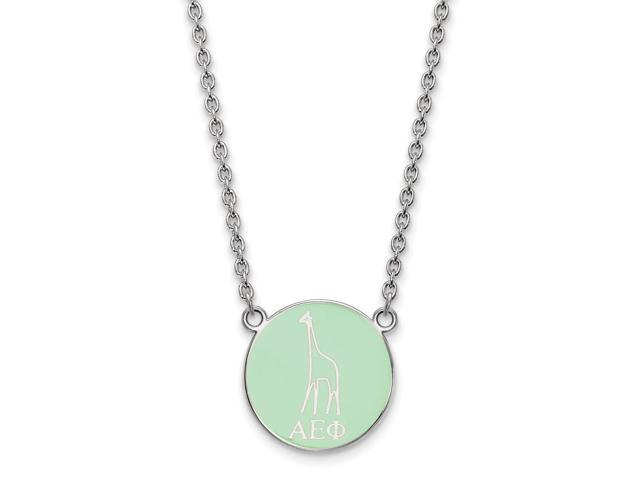 Sterling Silver Alpha Epsilon Phi Medium Enameled Pendant with 18 Inch Chain