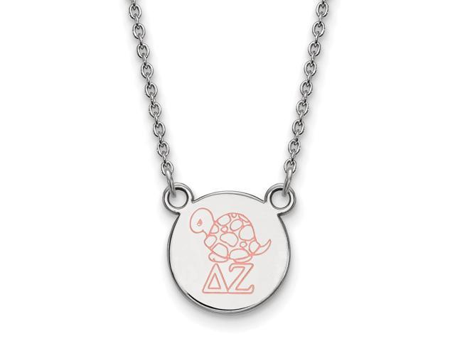 Sterling Silver Delta Zeta Extra Small Enameled Pendant with 18 Inch Chain