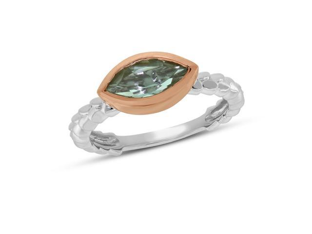 Viola, Marquise-cut Green Amethyst Ring in Sterling Silver