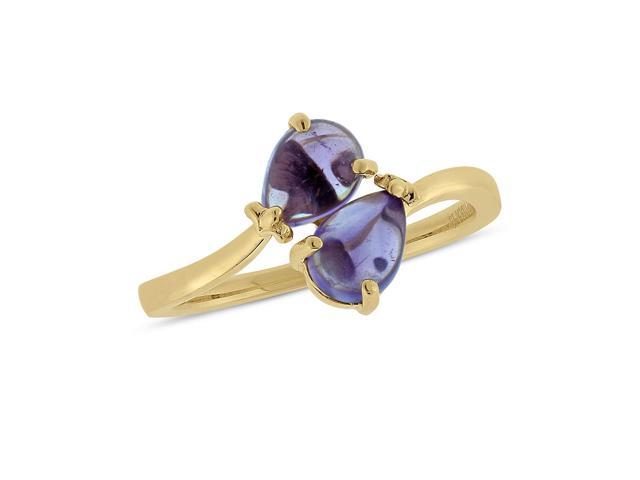 Viola, Round-cut Amethyst Ring in Sterling Silver & 18K Yellow Gold