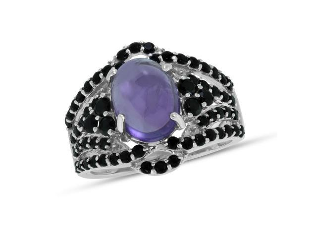 Viola, Oval-cut Amethyst & Black Spinel Ring in Sterling Silver