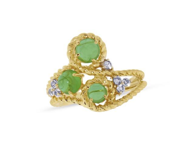 Viola, Round-cut Peridot Cabochon & White Topaz Ring in Sterling Silver Yellow Plated
