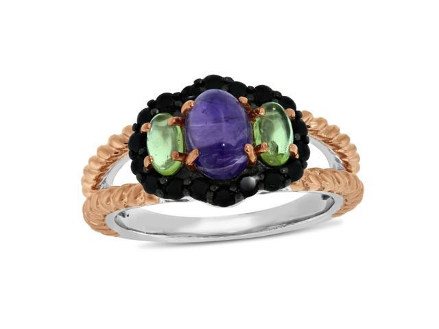 Viola, Oval-cut Amethyst,Peridot & Black Spinel Ring in Sterling Silver Rose Plated