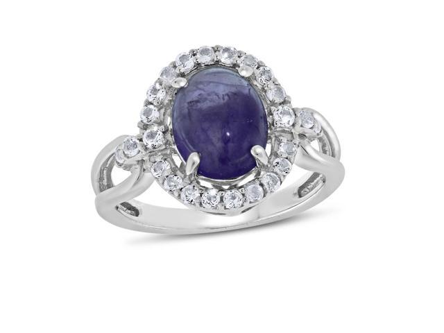 Viola, Oval-cut Amethyst Cabochon & White Topaz Ring in Sterling Silver