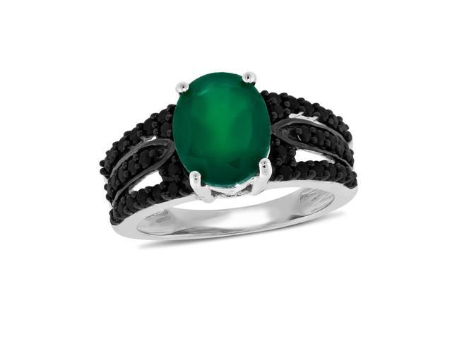 Viola, Oval-cut Green Onyx & Black Spinel Ring in Sterling Silver