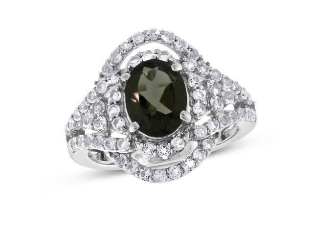 Viola, Oval-cut Smoky Quartz & White Topaz Ring in Sterling Silver