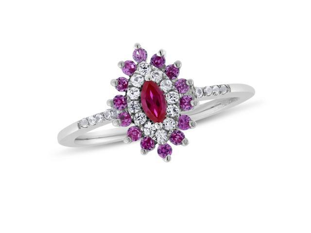 Marquise-cut Ruby, Pink Sapphire & White Sapphire Ring in Sterling Silver
