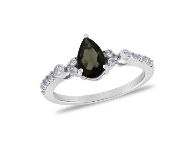Viola, Pear-cut Smoky Quartz & White Topaz Ring in Sterling Silver