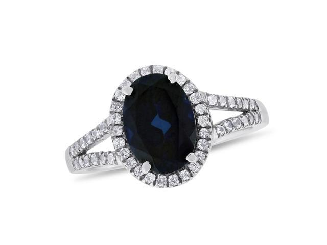 Oval-cut Blue Sapphire & White Sapphire Ring in Sterling Silver
