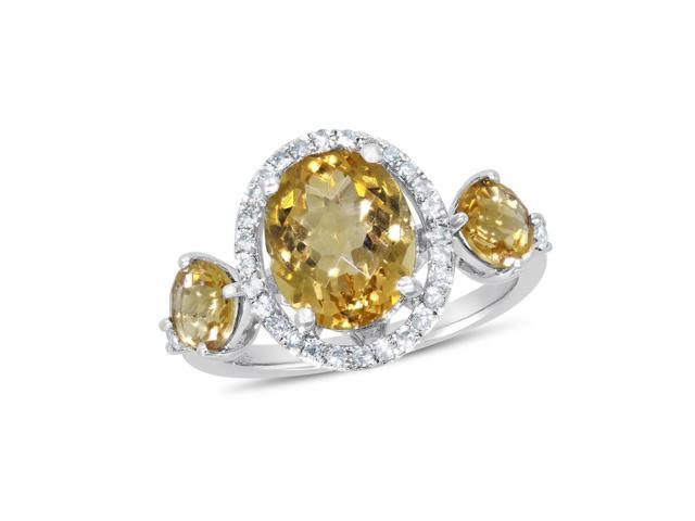 1/4 ctw Round-cut Diamond & Citrine Ring in Sterling Silver