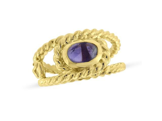 Viola, Oval-cut Amethyst Ring in Sterling Silver & 18K Yellow Gold