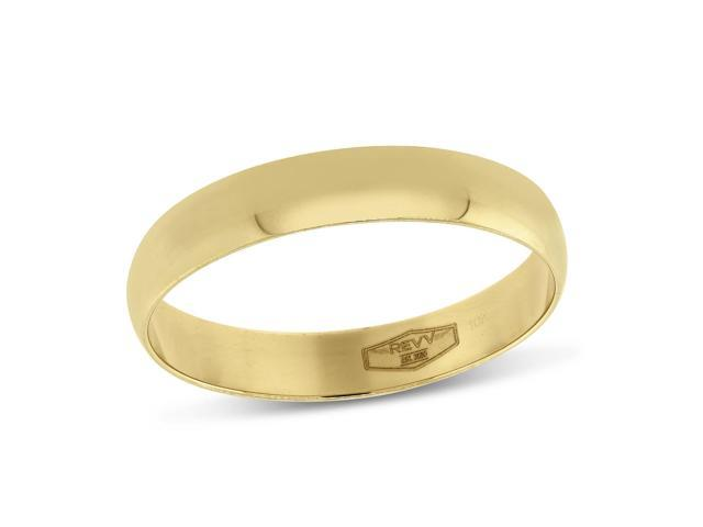 Gold Bands, 4MM Comfort Fit Plain Wedding Band in 10K Yellow Gold