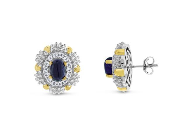 Viola, Oval-cut Amethyst & White Topaz Earring in Sterling Silver Yellow Plated