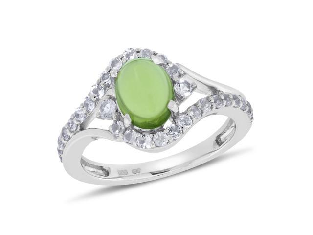 Viola, Oval-cut Peridot & White Topaz Ring in Sterling Silver