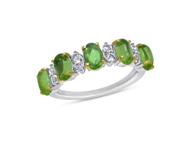 Viola, Oval-cut Peridot Cabochon & White Topaz Ring in Sterling Silver