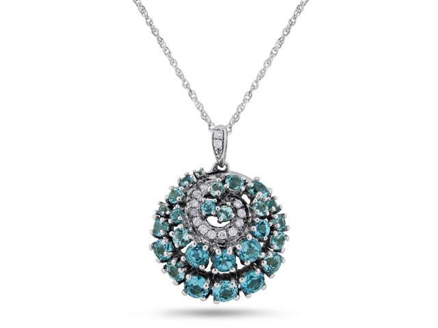 1/8 ctw Round-cut Swiss Blue Topaz Pendant in Sterling Silver