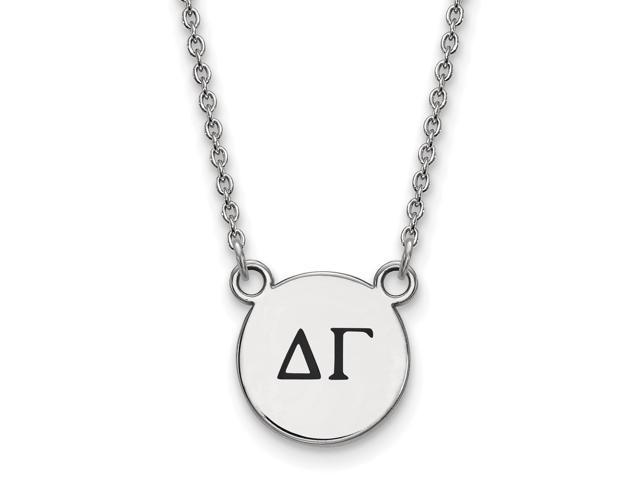 Sterling Silver Delta Gamma Extra Small Enameled Pendant with 18 Inch Chain