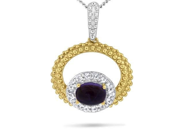 Viola, Oval-cut Amethyst & White Topaz Pendant in Sterling Silver Yellow Plated