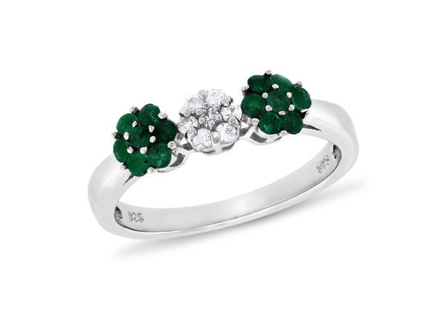Round-cut Emerald & White Zircon Ring in Sterling Silver