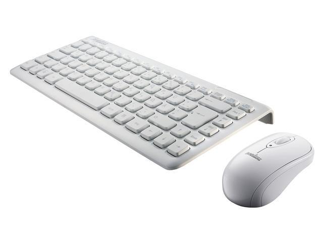 "Perixx PERIDUO-707W PLUS, Wireless Mini Keyboard and Mouse Combo - Piano White - 12.60""x5.55""x0.98"" Dimension - Nano Receiver - On/Off Switch - 128 Bit AES Encryption - Brand Batteries - US English"