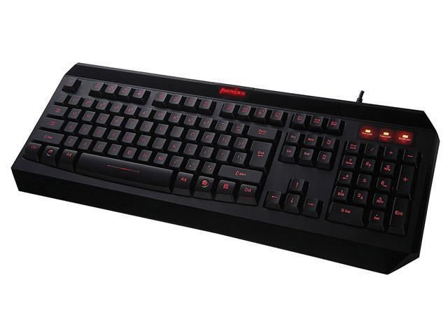 Perixx PX-2000, Programmable Backlit Gaming Keyboard - USB - 6 Macro Keys & 3 User Profile - Blue Illuminated Backlit - Gold-plated USB Connector - 6 Feet Braided Fiber Cable - 3 Level Brightness