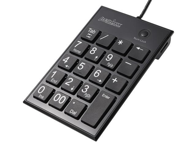 Perixx PERIPAD-202HB, Numeric Keypad for Laptop - USB - Built-in 2xUSB Hub - Tab Key Feature - Full Size 19 Keys - Big Print ...