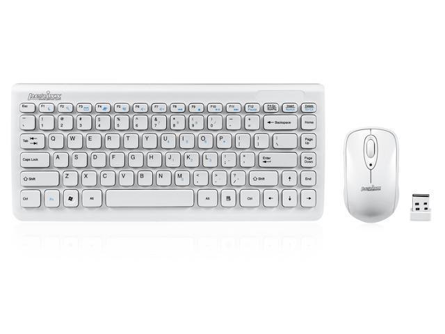 "Perixx PERIDUO-707W PLUS, Wireless Mini Keyboard and Mouse Combo - Piano White - 12.60""x5.55""x0.98"" Dimension - Brand Batteries ..."